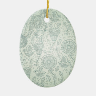 Vintage Floral Ceramic Oval Decoration
