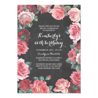 vintage floral chalkboard birthday party 13 cm x 18 cm invitation card