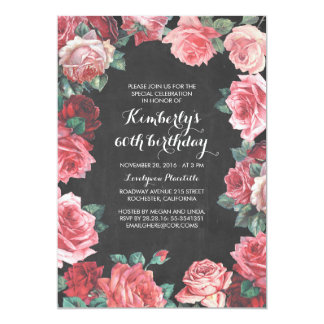 vintage floral chalkboard birthday party card