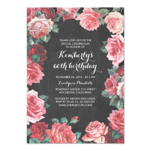 Vintage Floral Chalkboard Birthday Party Invitation