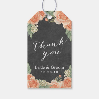Vintage Floral Chalkboard Garden Wedding Thank You Gift Tags