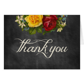 Vintage Floral Chalkboard Thank You Invitation Note Card