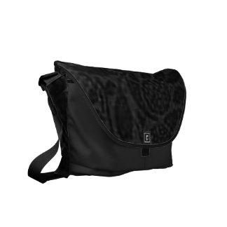 Vintage Floral Charcoal Gray Black Messenger Bag