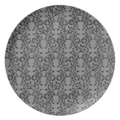 Vintage Floral Charcoal Sterling Silver Gray Party Plates