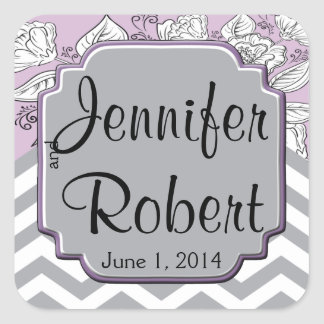 Vintage Floral Chevron Posh Wedding Envelope Seal Square Sticker
