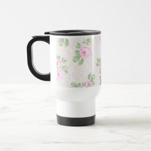 Vintage floral chic pink roses mug