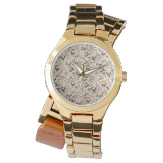 Vintage Floral Coffee Brown Wristwatches