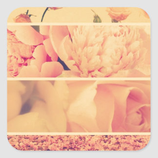 Vintage floral collage photos of loveliness style sticker