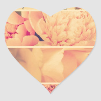 Vintage floral collage photos of loveliness style heart sticker