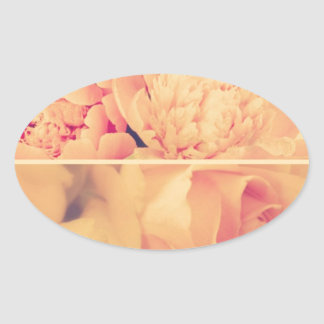 Vintage floral collage photos of loveliness style oval stickers