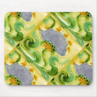Vintage Floral Crazed Tile Design Art Nouveau Mousepad
