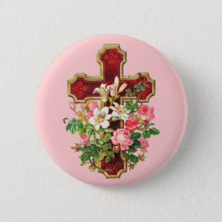 Vintage Floral Cross 6 Cm Round Badge