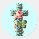 Vintage Floral Cross Classic Round Sticker