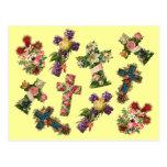 Vintage Floral Cross Postcard