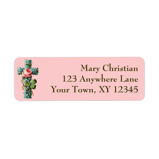 Vintage Floral Cross Return Address Label