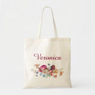 VIntage Floral Custom Name Tote Bag