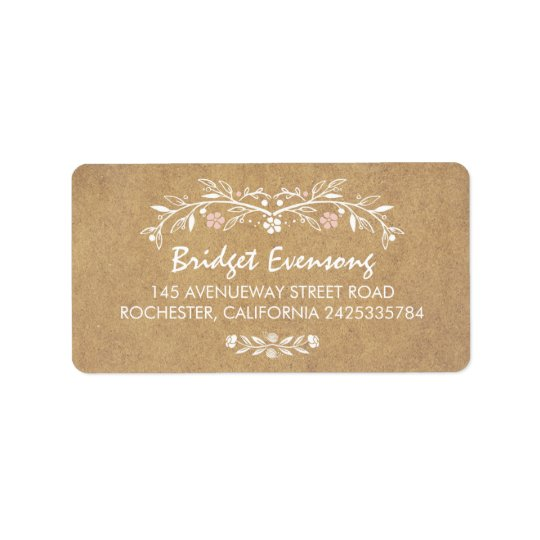 Vintage Floral Cute Wedding Address Label