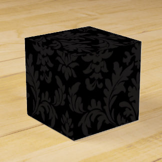 Vintage Floral Damask Black And Gray Wedding Party Favour Boxes