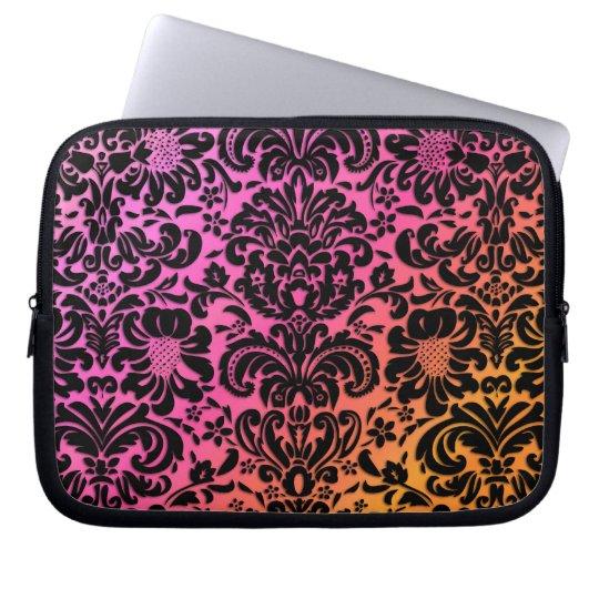 Vintage Floral Damask Black Pink Orange Laptop Sleeve