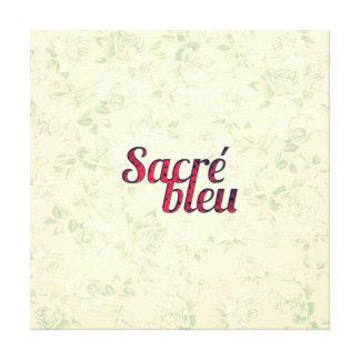 Vintage Floral Dark Cross Sacre Bleu French Funny Stretched Canvas Print