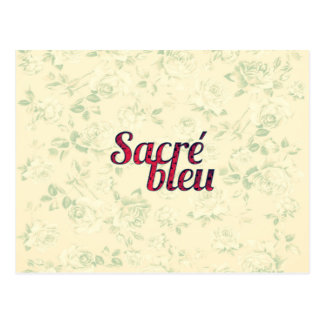 Vintage Floral Dark Cross Sacre Bleu French Funny Postcard