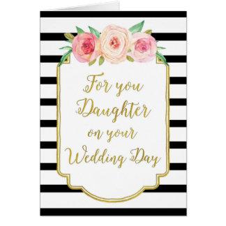 Vintage Floral Daughter Wedding Congratulations Card