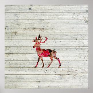 Vintage Floral Deer Gray Retro Wood Photo Print