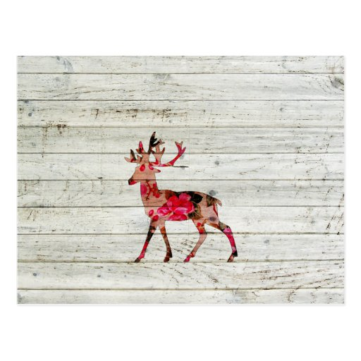Vintage Floral Deer Gray Retro Wood Photo Print Post Cards