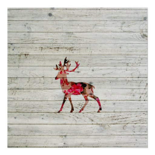 Vintage Floral Deer Gray Retro Wood Photo Print