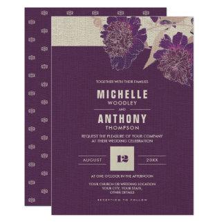 Vintage Floral Design Custom Wedding Invitations