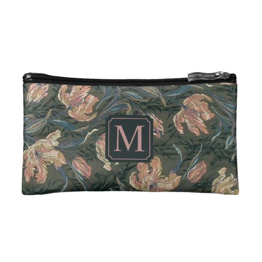 Vintage Floral Design Monogram | Cosmetic Bag