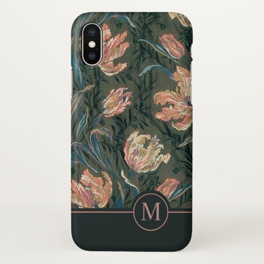 Vintage Floral Design Monogram | iPhone X Case
