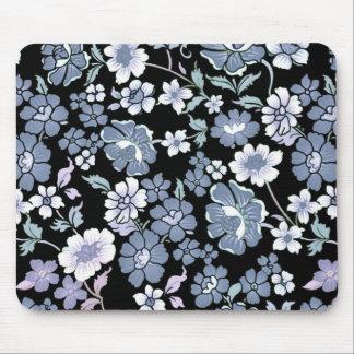 Vintage Floral Design Mouse Pad - Black/Blue