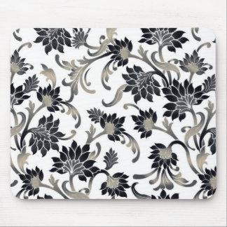 Vintage Floral Design Mouse Pad - Black/White/Gold