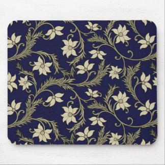 Vintage Floral Design Mouse Pad - Blue/Gold