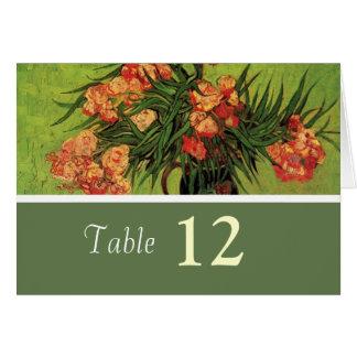 Vintage floral dinner table number card. card