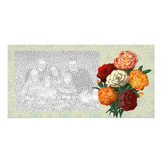 Vintage Floral Display on mint floral pattern Customised Photo Card