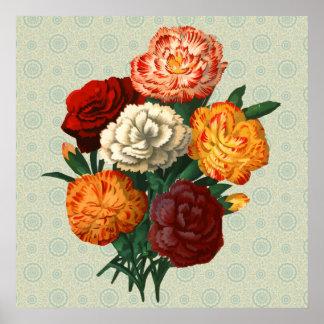 Vintage Floral Display on mint floral pattern Poster
