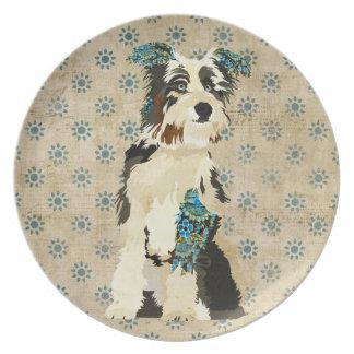 Vintage Floral Dog Plate