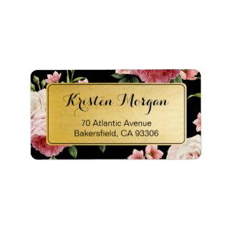 Vintage Floral Elegant and Classy Black Gold Label