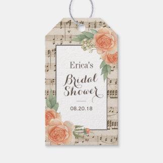 Vintage Floral Elegant Musical Bridal Shower Gift Tags