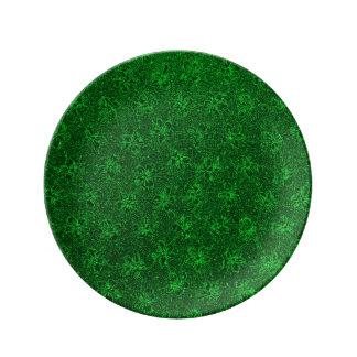 Vintage Floral Emerald Green Violets Porcelain Plates