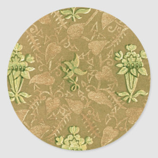 Vintage Floral Fabric (194) Round Stickers