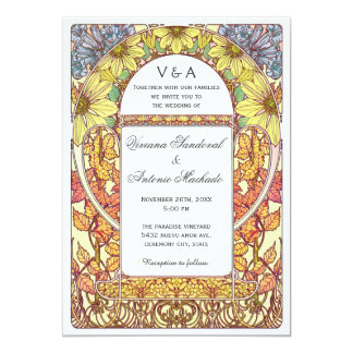Vintage Floral Fall Wedding Invitations