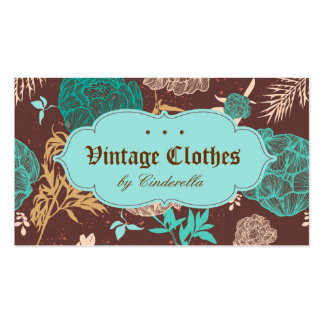 Vintage Floral Fashion Clothing Teal Blue Brown Business Card Template