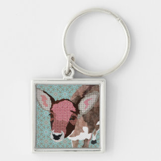 Vintage Floral Fawn Keychain