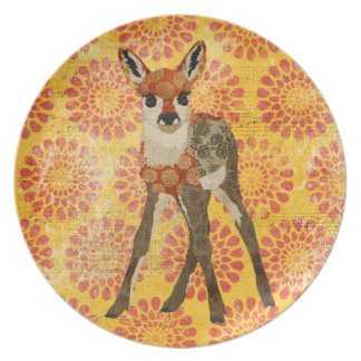 Vintage Floral Fawn Plate