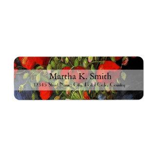 Vintage floral fine art labels. Red Poppies Return Address Label