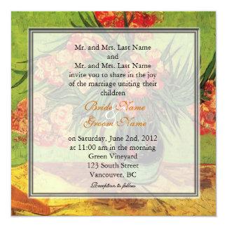 Vintage floral fine art wedding invitations