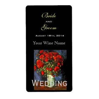 Vintage floral  fine art wedding wine label shipping label